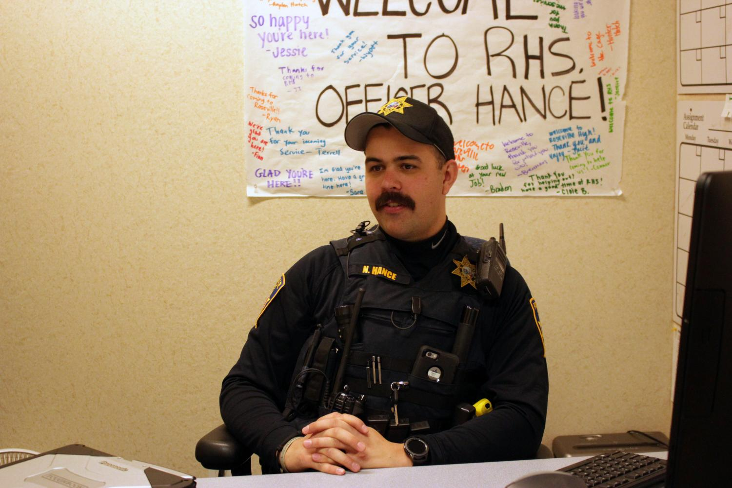 Pictured, youth resource officer Nathan Hance works in his office. Hance assumed the role of RHS' YRO following former officer Marc Kelley's promotion.